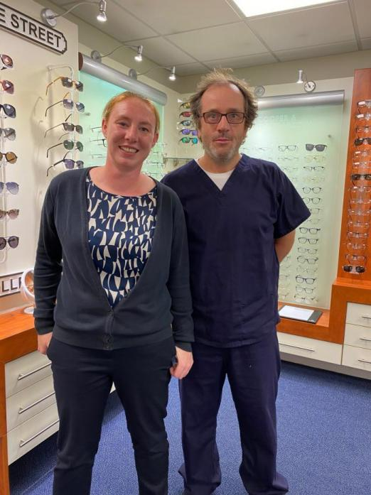 FAREWELL: Optometrist Geoff Nicholls and optical assistant Jenny Lewis at the Cooper and Leatherbarrow shop