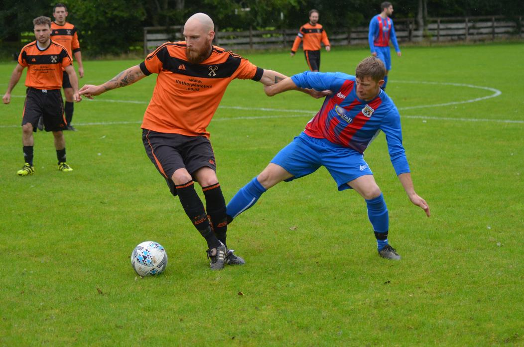 HONOURABLE DRAW: Action from Gainford's match against local rivals Toft Hill