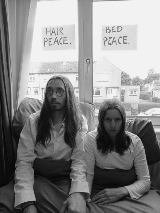 GIVE PEACE A CHANCE: Left, a love-in with John and Yoko, aka Sam Hill and Nathan Coyle, from Barnard Castle