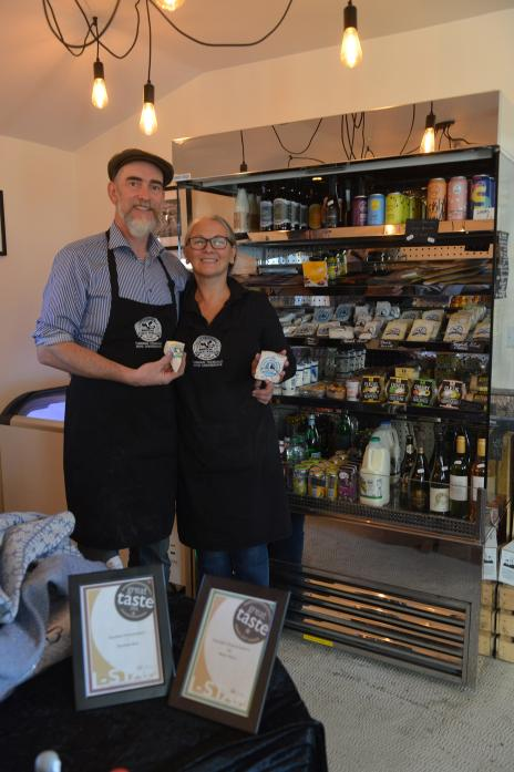 CHEESY DOES IT: Jonathan and Allison Raper with their latest Great Taste award-wining cheeses