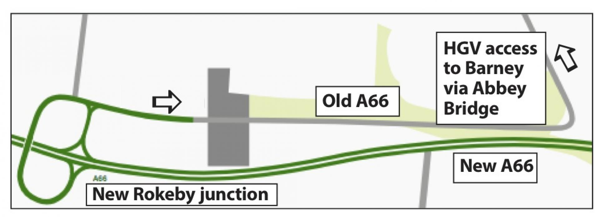 HGV ACCESS: The proposed route of the A66 at Rokeby. This route to Barnard Castle would be for HGVs. Cars would go via Cross Lanes where a new junction is planned
