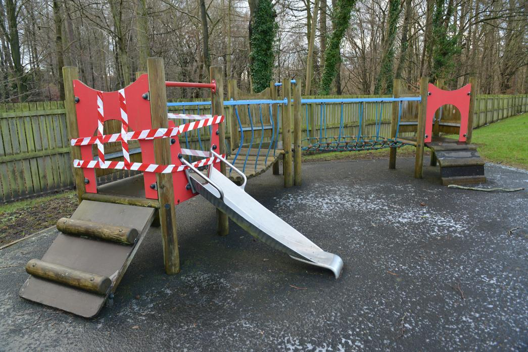 NO GO: The damaged piece of play equipment at Bouch Way play area
