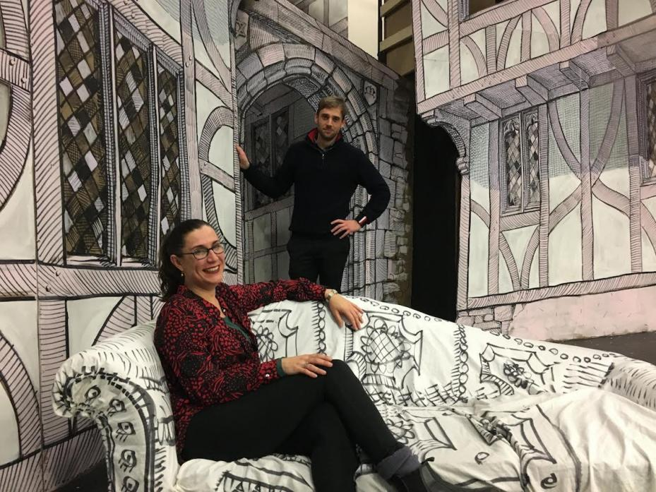 FRIENDS REUNITED: Former Teesdale School drama teacher Liz Moss with ex-student Oliver Smith on the set of Epicene, which was designed by Ms Moss's artist husband Chris