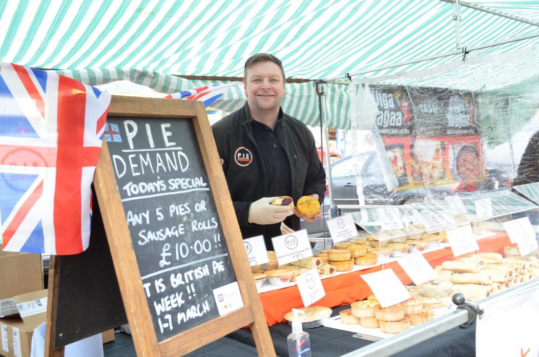 SAVOURY TREATS: Brian Twigg, from Pie Demand, took part in his first farmers' market in Barnard Castle this month