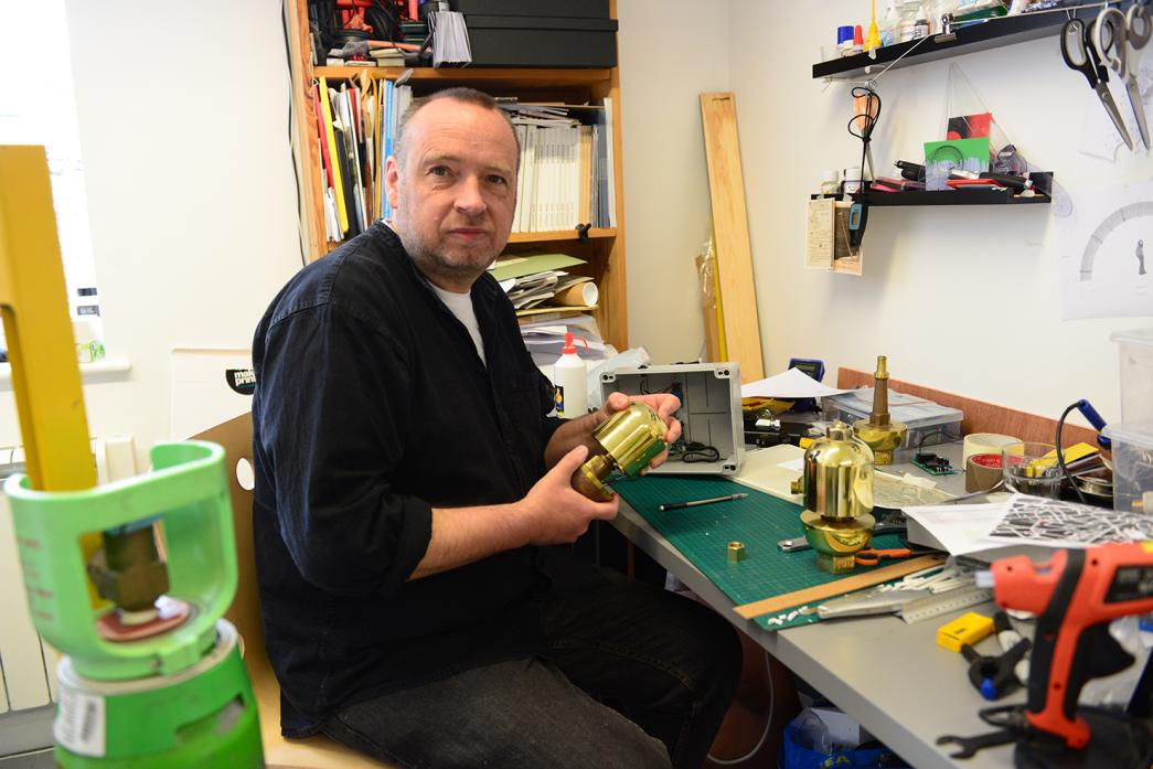 NEW PROJECT: Steve Messam with one of the bells he created for the exhibition