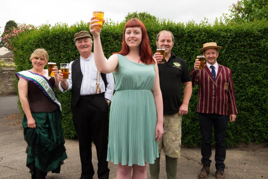 NAME THE BEER: The Castle Players' Adele Tyler,  Ian Kirkbride, Rosie Bradford, Pete Fenwick from Mithril Ales and Andrew Stainthorpe