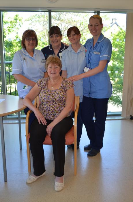 CARING ENVIRONMENT: Richardson Hospital patient Margaret Fawcett with healthcare assistant Julie Metcalf, ward manager Jean Heslop, healthcare assistant Karen Redmond and staff nurse Mihaela Matei