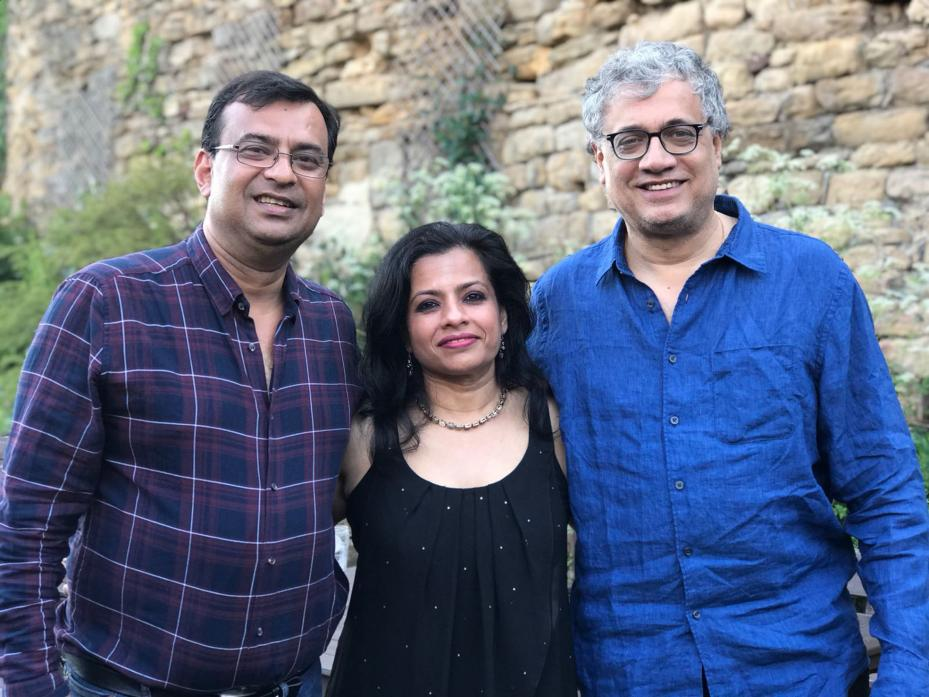 OLD FRIENDS: Derek O'Brien, right, with Roy and Rima Chatterjee