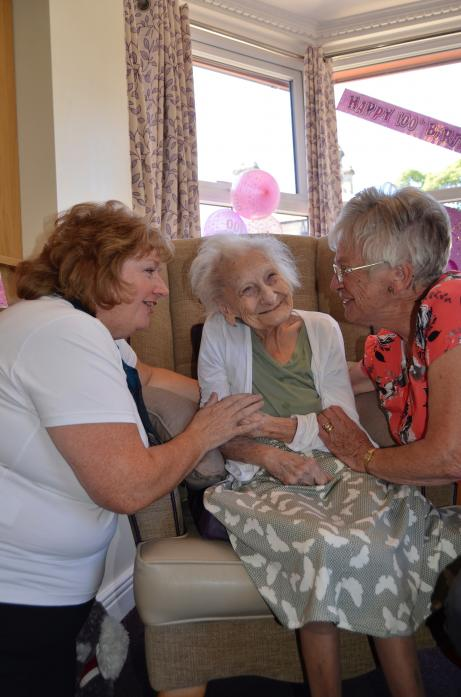 BIRTHDAY GIRL: Mrs Eileen Hunter shares a joke with her daughter Jan Swinburn, left, and care home manager Anne Johnson