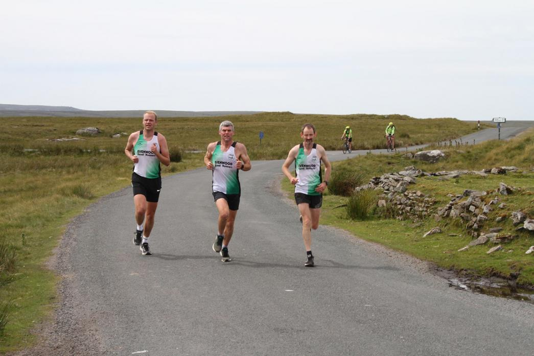 RELAY RACERS: Gary Atkinson, John Clifford and Alistair Fisher head up to the Tan Hill Inn