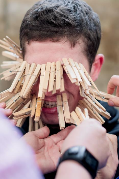 young farmers managed to attach 67 pegs to Adam Dent's face as part of the fun and games