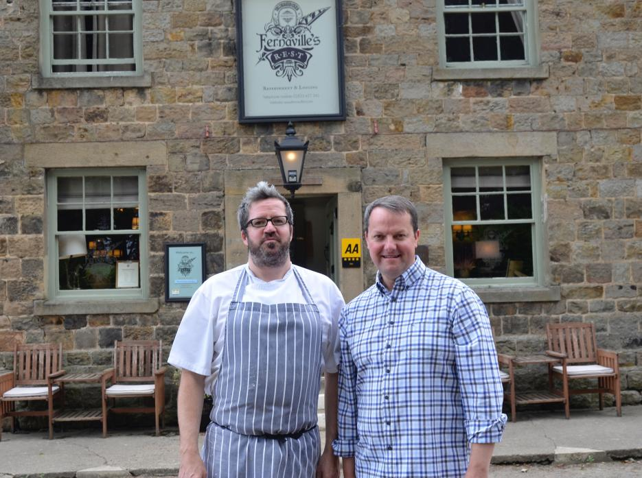 ON THE JOB: Chef Alistair Ross and Thomas Magnay outside Fernaville's Rest