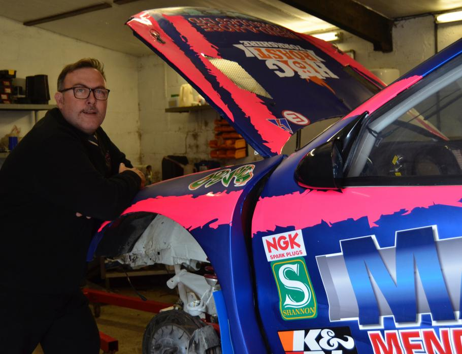 PRAYING FOR RAIN: Mark Watson getting his 12-year-old Citroen Zara Supercar ready for rallycross action at Croft