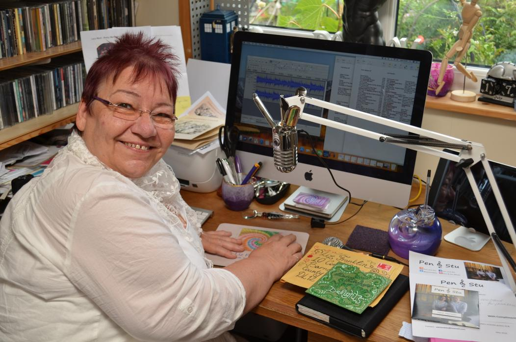 QUEEN OF THE AIRWAVES: Liz Franklin in the studio she has created at her Startforth home