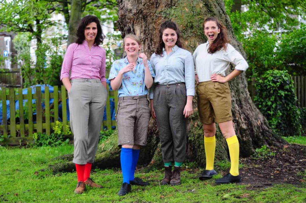 WHERE FOR ART THOU? The all-female cast of the Handlebards Romeo and Juliet, from left Charlotte Driessler, Sian Eleanor Green, Eleanor Chaganis and Lucy Green