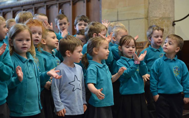 Children tell the story of Easter at church service