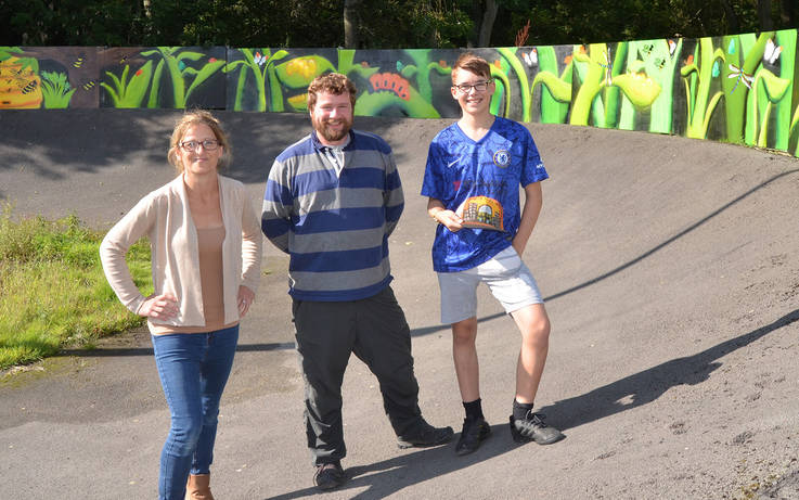 Graffiti artists unveil 80ft mural at Barney BMX track