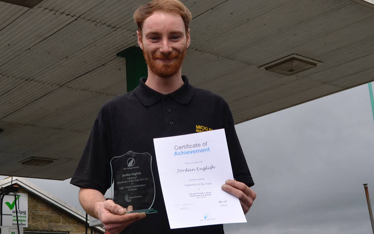 Dale apprentice wins top accolade from his college